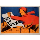 """Original Vintage French Poster for """"Le Peuple"""" Newspaper by F. Kersters 1930"""