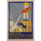 """Original Vintage French Poster for """"Metral Mousse"""" Fire Extinguisher by Carlu"""