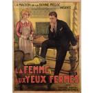 """Original Vintage French Movie Poster Advertising """"La Femme aux Yeux Fermes"""""""