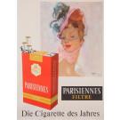"Original Vintage French Poster for ""Parisiennes Filtre"" Cigarettes by Domergue"
