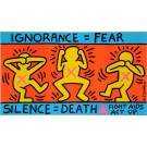 "Original Vintage Poster ""IGNORANCE = FEAR"" Fight Aids by Keith Haring 1989"