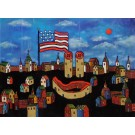 """Original Acrylic on Canvas Russian Painting """"American Flag and Buttons"""" by Rykov ca. 1999"""