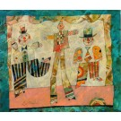 """Original Signed Oil on Board Painting  """"Three Clowns"""" by Harry Guttman"""