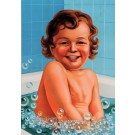 Original Vintage French Children BEFORE LETTERS Poster Baby Bubble Bath ca. 1930