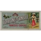 "Original Vintage Italian Food Advertising Tin Relief Poster for ""Torrone di Canelli"" ca. 1900"