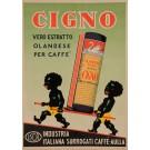 "Original Vintage Italian Coffee Poster for ""Cigno"" African Children Swan 1951"