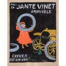 """Original Vintage French Maquette on Board """"La Jante Vinet Amovible"""" by Grun 1905 - RARE!"""