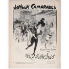 "Original Vintage French """"Joyeux Camarade"" AD. Gauwin Musical Notes by Grun"