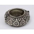 Antique Vintage Islamic Silver Bracelet Flowers Relief