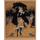 """Original Watercolor and Gouache on Paper by Grun """"Walking in The Rain"""" 1900 Rare"""