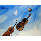"Original Acrylic on Canvas Painting ""Two Violins"" by Hei Feng"