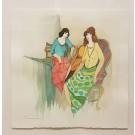 "Tarkay ""Sisters"", Mixed media on paper, 45.5x45.5 cm,."