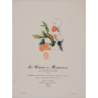 "Original Menu Cover for ""La Rotnde"" Restaurant by Fernand Renault ca. 1930"