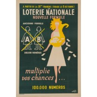"Original Vintage Loterie Nationale Poster ""Multiplie vos Chances"" ca. 1940"