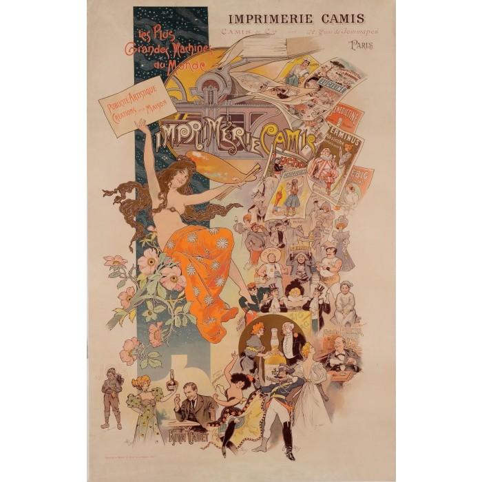 "Original Art Nouveau Poster ""Imprimerie Camis"" ca. 1900"